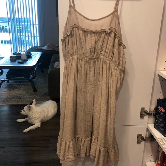 Dresses & Skirts - Tan ruffles boutique dress
